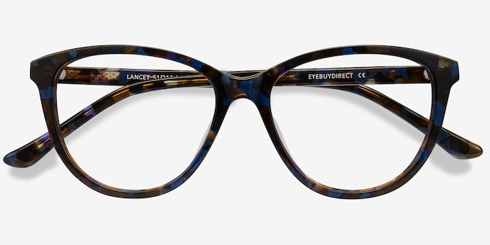 Lancet Blue Floral Acetate Eyeglass Frames from EyeBuyDirect, Closed View
