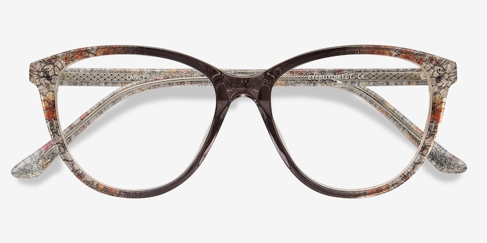 Lancet Clear Floral Acetate Eyeglass Frames from EyeBuyDirect, Closed View