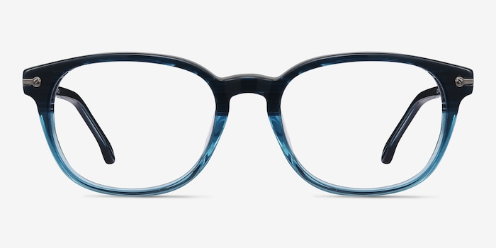 Nova Blue Striped Acetate Eyeglass Frames from EyeBuyDirect, Front View