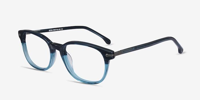 Nova Blue Striped Acetate Eyeglass Frames from EyeBuyDirect, Angle View