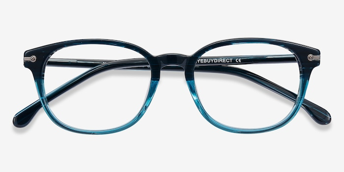 Nova Blue Striped Acetate Eyeglass Frames from EyeBuyDirect, Closed View