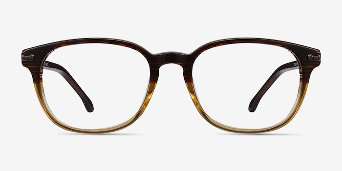 Nova Brown Striped Acetate Eyeglass Frames from EyeBuyDirect, Front View