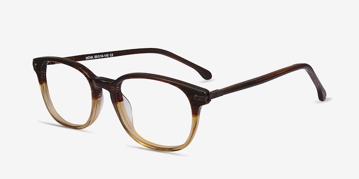 Nova Brown Striped Acetate Eyeglass Frames from EyeBuyDirect, Angle View