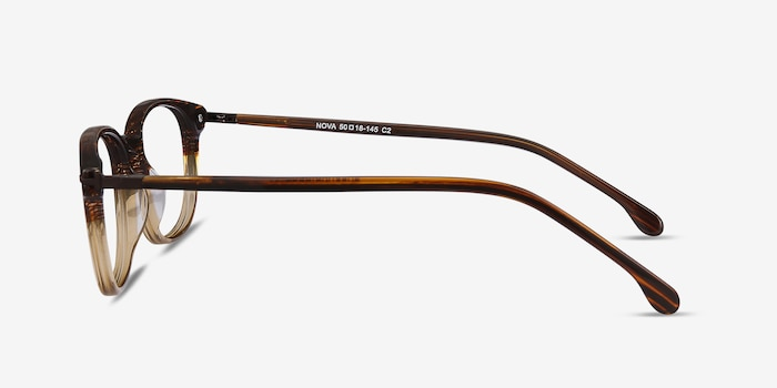 Nova Brown Striped Acetate Eyeglass Frames from EyeBuyDirect, Side View