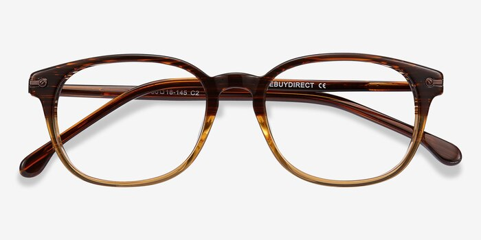 Nova Brown Striped Acetate Eyeglass Frames from EyeBuyDirect, Closed View