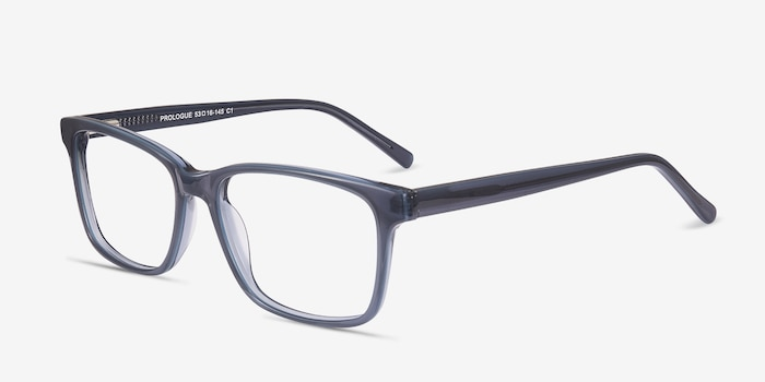 Prologue Blue Acetate Eyeglass Frames from EyeBuyDirect, Angle View
