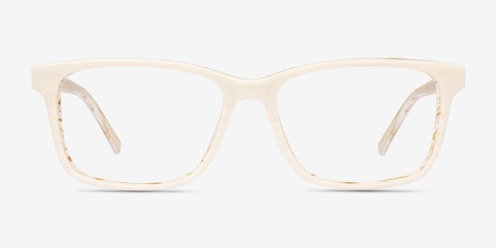 Prologue Cream Acetate Eyeglass Frames from EyeBuyDirect, Front View