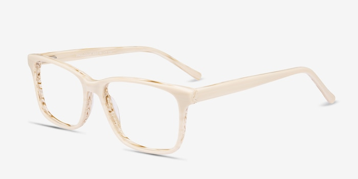 Prologue Cream Acetate Eyeglass Frames from EyeBuyDirect, Angle View