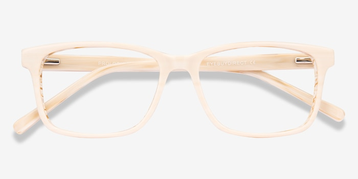 Prologue Cream Acetate Eyeglass Frames from EyeBuyDirect, Closed View
