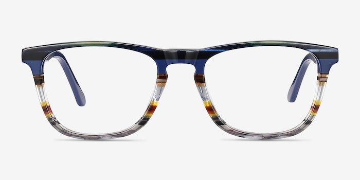 Prelude Blue Striped Acetate Eyeglass Frames from EyeBuyDirect, Front View