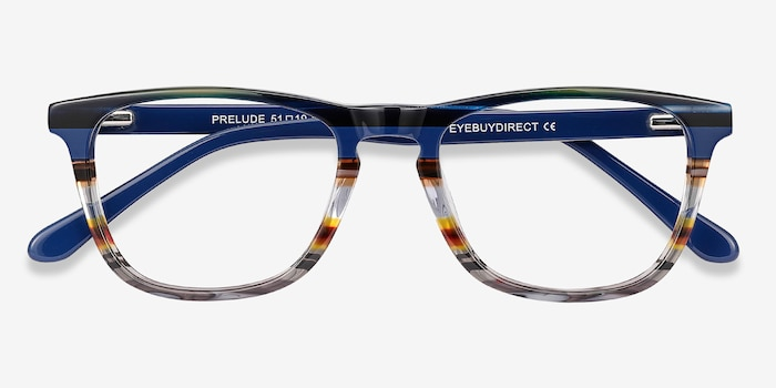Prelude Blue Striped Acetate Eyeglass Frames from EyeBuyDirect, Closed View