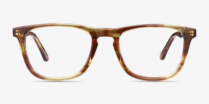 Prelude Brown Striped Acétate Montures de Lunettes d'EyeBuyDirect, Vue de Face