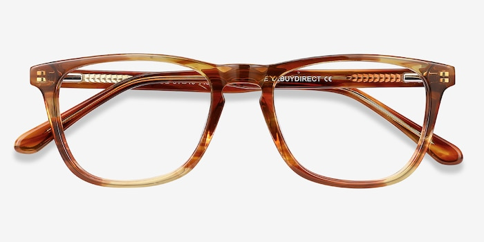 Prelude Brown Striped Acetate Eyeglass Frames from EyeBuyDirect, Closed View