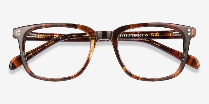 Kent Brown Striped Acetate Eyeglass Frames from EyeBuyDirect, Closed View