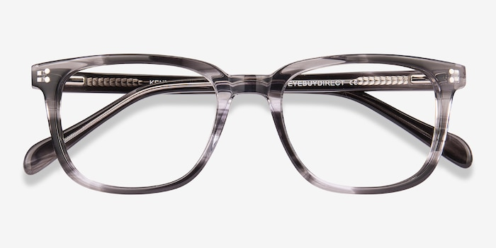 Kent Gray Striped Acetate Eyeglass Frames from EyeBuyDirect, Closed View