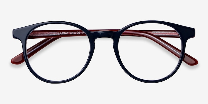 Lariat Navy Acetate Eyeglass Frames from EyeBuyDirect, Closed View