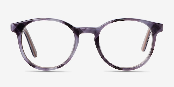 Lariat Striped Acetate Eyeglass Frames from EyeBuyDirect, Front View
