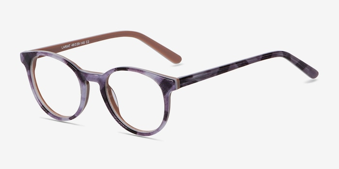 Lariat Striped Acetate Eyeglass Frames from EyeBuyDirect, Angle View