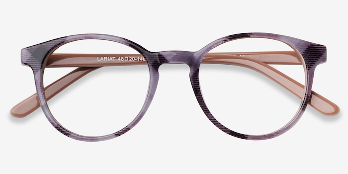 Lariat Striped Acetate Eyeglass Frames from EyeBuyDirect, Closed View