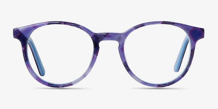 Lariat Purple Striped Acétate Montures de Lunettes d'EyeBuyDirect, Vue de Face