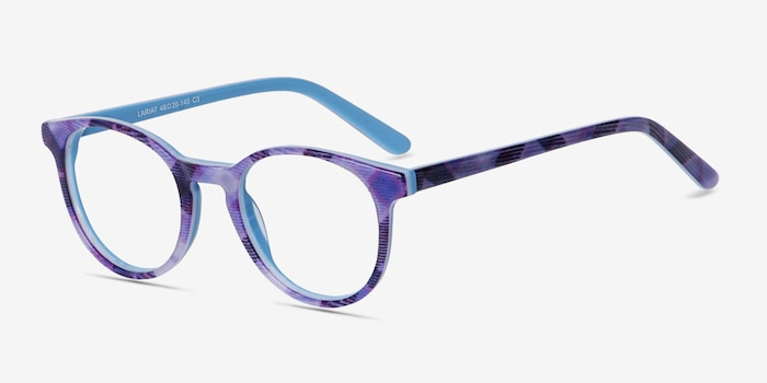 Lariat Purple Striped Acetate Eyeglass Frames from EyeBuyDirect, Angle View