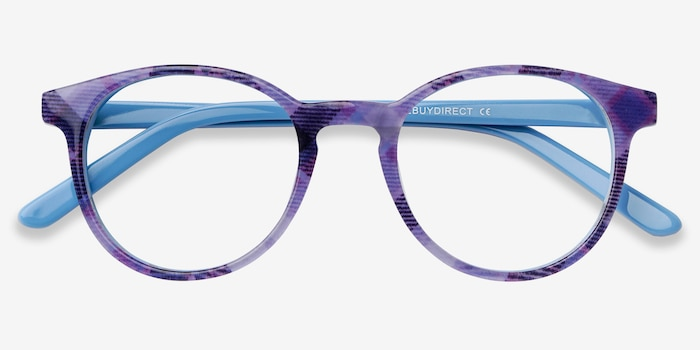 Lariat Purple Striped Acetate Eyeglass Frames from EyeBuyDirect, Closed View