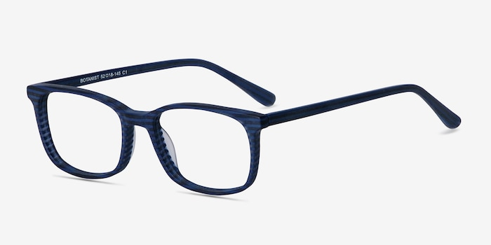 Botanist Navy Striped Acetate Eyeglass Frames from EyeBuyDirect, Angle View