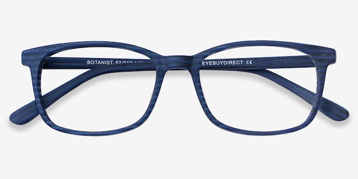 Botanist Navy Striped Acetate Eyeglass Frames from EyeBuyDirect, Closed View