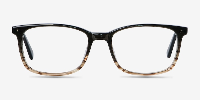 Botanist Gray Brown Acetate Eyeglass Frames from EyeBuyDirect, Front View