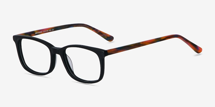 Botanist Black Acetate Eyeglass Frames from EyeBuyDirect, Angle View