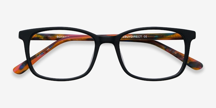 Botanist Black Acetate Eyeglass Frames from EyeBuyDirect, Closed View