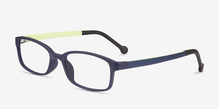 Gizmo Navy Plastic Eyeglass Frames from EyeBuyDirect, Angle View