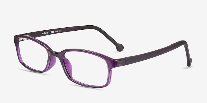 Gizmo Purple Plastic Eyeglass Frames from EyeBuyDirect, Angle View