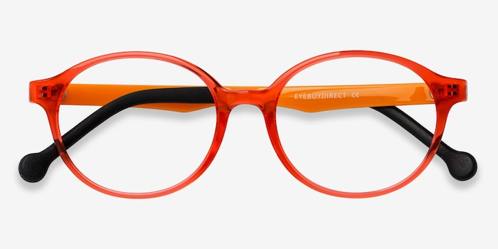Daylight Clear Orange Plastic Eyeglass Frames from EyeBuyDirect, Closed View