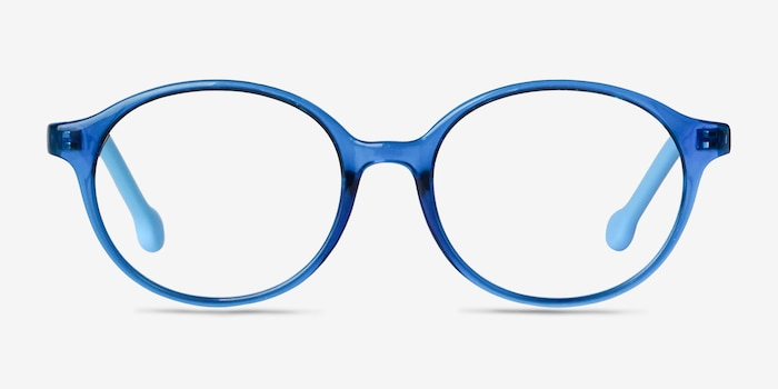 Daylight Clear Blue Plastic Eyeglass Frames from EyeBuyDirect, Front View