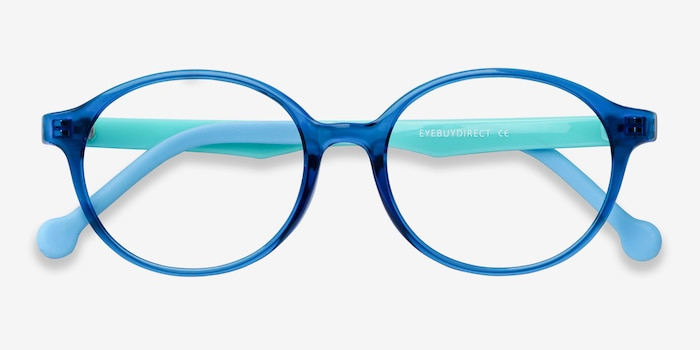 Daylight Clear Blue Plastic Eyeglass Frames from EyeBuyDirect, Closed View