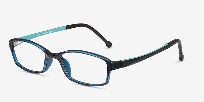 Glitch Clear Navy Plastic Eyeglass Frames from EyeBuyDirect, Angle View