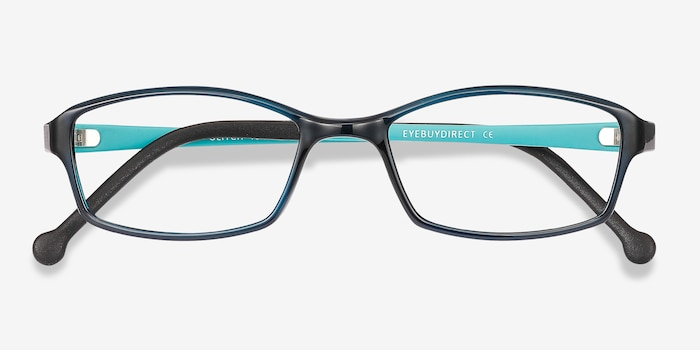 Glitch Clear Navy Plastic Eyeglass Frames from EyeBuyDirect, Closed View