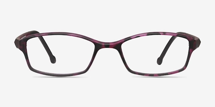 Glitch Tortoise Purple Plastic Eyeglass Frames from EyeBuyDirect, Front View