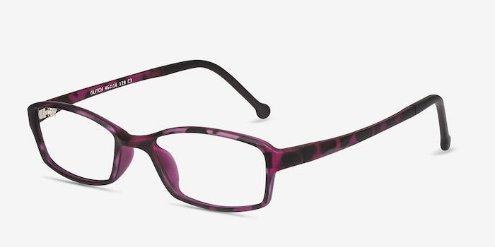 Glitch Tortoise Purple Plastic Eyeglass Frames from EyeBuyDirect, Angle View