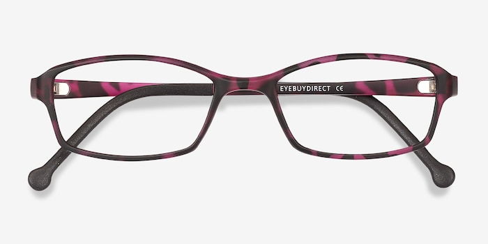 Glitch Tortoise Purple Plastic Eyeglass Frames from EyeBuyDirect, Closed View