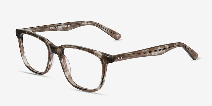 Bristol Gray Floral Acetate Eyeglass Frames from EyeBuyDirect, Angle View