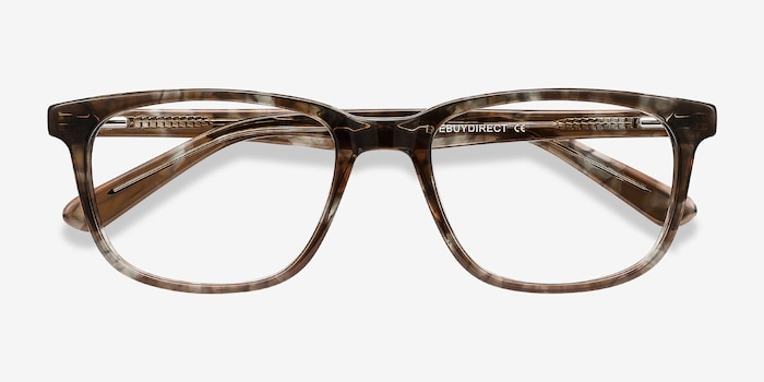 Bristol Gray Floral Acetate Eyeglass Frames from EyeBuyDirect, Closed View