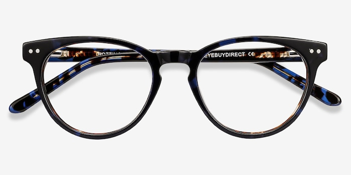 Notting Hill Blue Floral Acetate Eyeglass Frames from EyeBuyDirect, Closed View