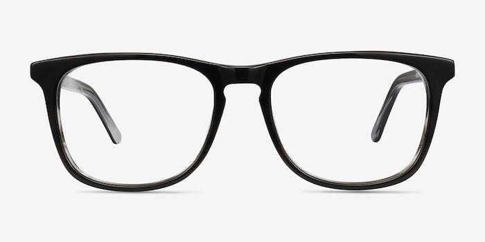 Skyline Black Gray Acétate Montures de Lunettes d'EyeBuyDirect, Vue de Face