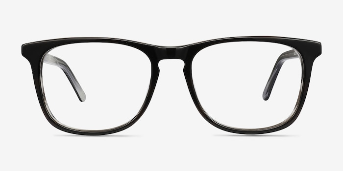Skyline Black Gray Acetate Eyeglass Frames from EyeBuyDirect, Front View