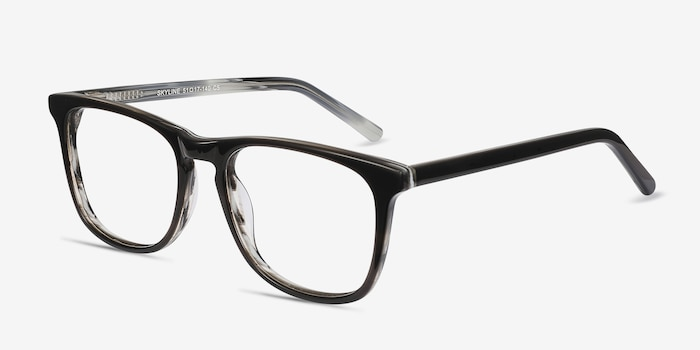 Skyline Black Gray Acétate Montures de Lunettes d'EyeBuyDirect, Vue d'Angle