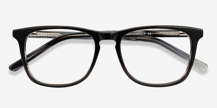 Skyline Black Gray Acetate Eyeglass Frames from EyeBuyDirect, Closed View