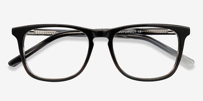 Skyline Black Gray Acétate Montures de Lunettes d'EyeBuyDirect, Vue Rapprochée