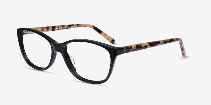 Masque Black Acetate Eyeglass Frames from EyeBuyDirect, Angle View